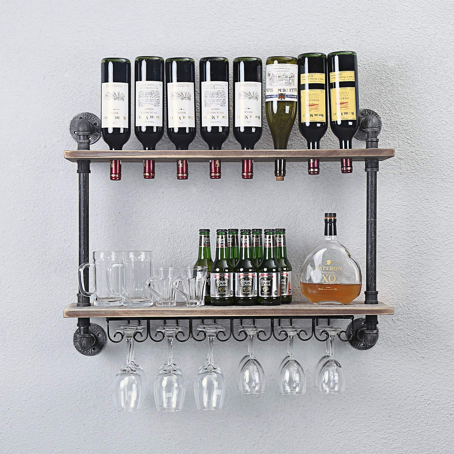 WGX Design For You Industrial Rustic Wall Mounted Wine Racks with Glass Holder Pipe Hanging Wine Rack,2-Tiers Wood Shelf Floating Shelves,Home Room Living Room Kitchen Decor Display Rack (24inch)