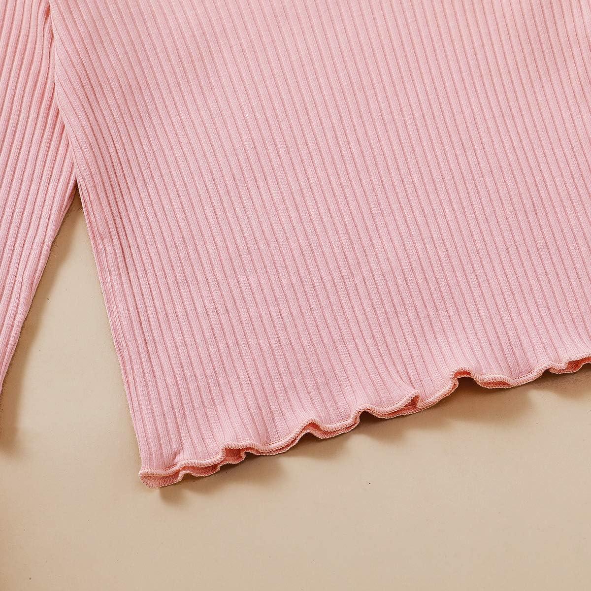 Toddler Kids Girls Pajamas Long Sleeve Cotton Pjs Solid Sleepover Footless Sleepwear Pants Two Piece Clothes Set