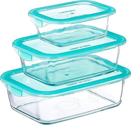 Luminarc KeepnBox - Pack de 3 recipientes de vidrio rectangulares con tapa, 37 cl + 76 cl + 116 cl: Amazon.es: Hogar