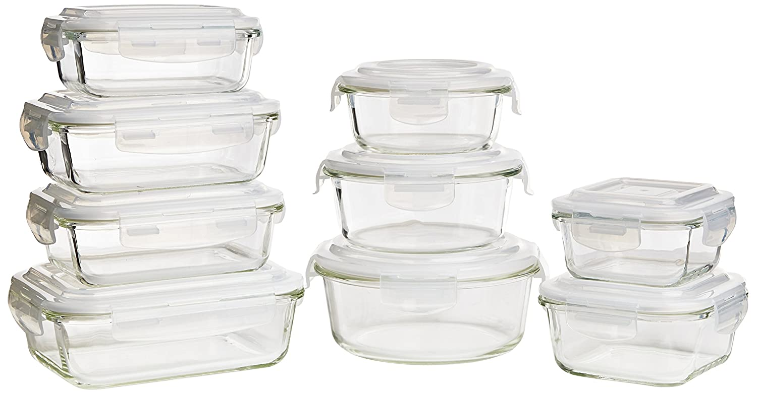 Keeperz 18 Piece Tempered Borosilicate Glass Food Storage Set by Keeperz