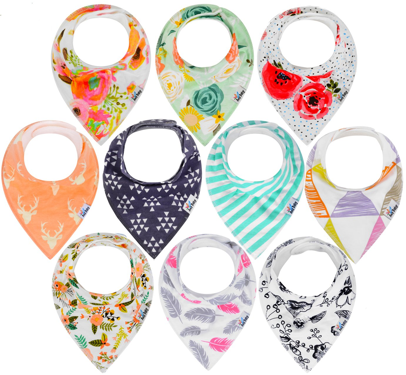 10-Pack Baby Bandana Drool Bibs for Drooling and Teething, 100% Organic Cotton, Soft and Absorbent, Hypoallergenic Bibs for Baby Girls - Baby Shower Gift Set by Ana Baby textiles
