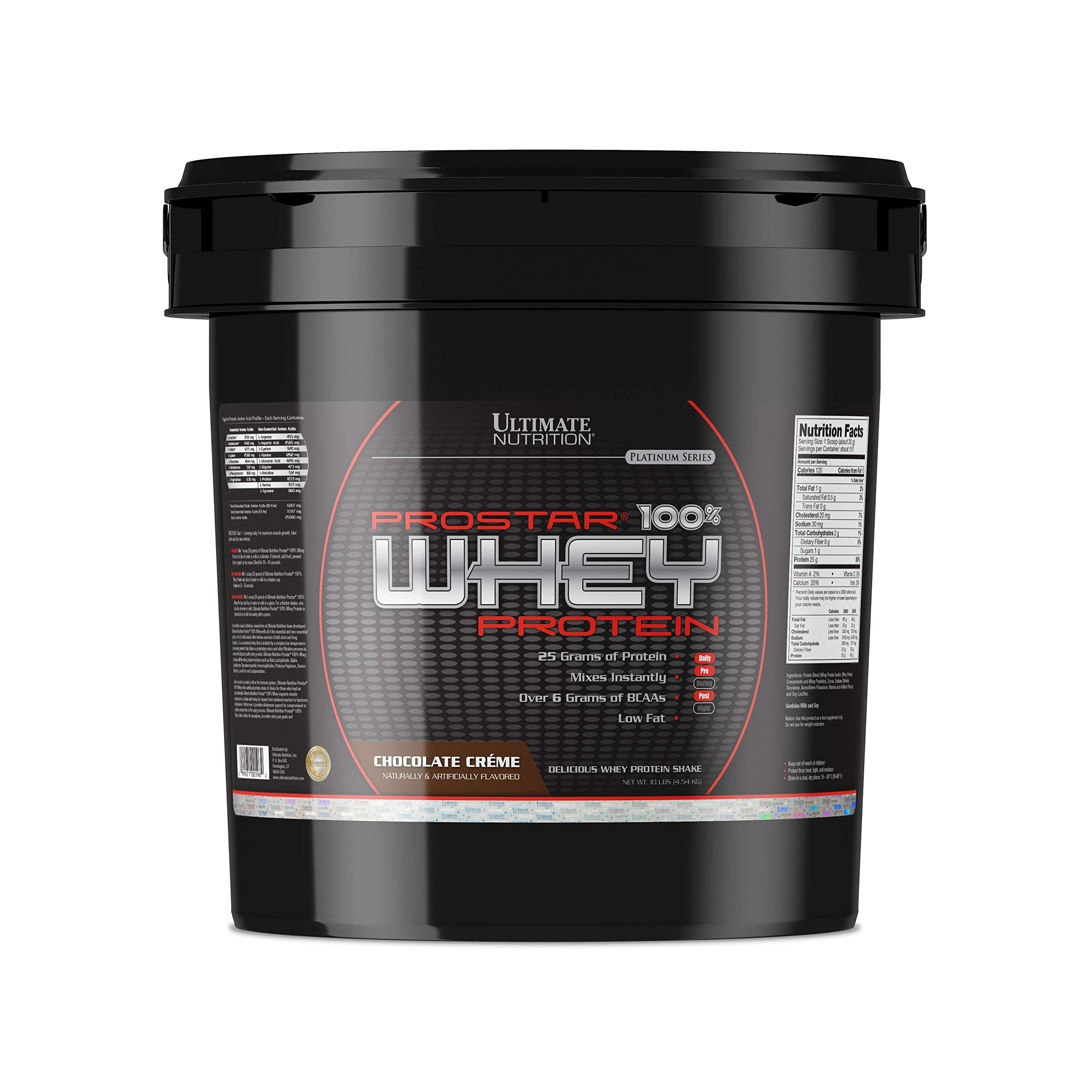 Ultimate Nutrition PROSTAR Whey Protein Powder - 20% More Servings - 25 Grams of Protein and 6g BCAAs - Low Carb, Keto Friendly, Chocolate Crème, 10 Pounds