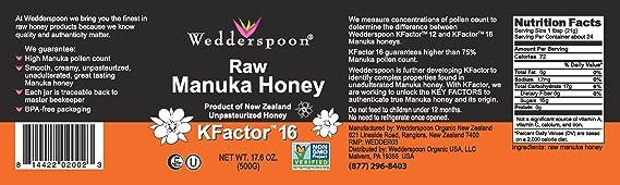 Wedderspoon Organic - 100% Raw Manuka Honey Unpasteurized KFactor 16 - 17 6  oz
