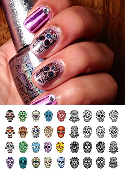Sugar Skull Nail Art Day of the Dead Decals Assortment #4 - Featured in  Rachael - Amazon.com: Sugar Skull Nail Art Day Of The Dead Decals Assortment