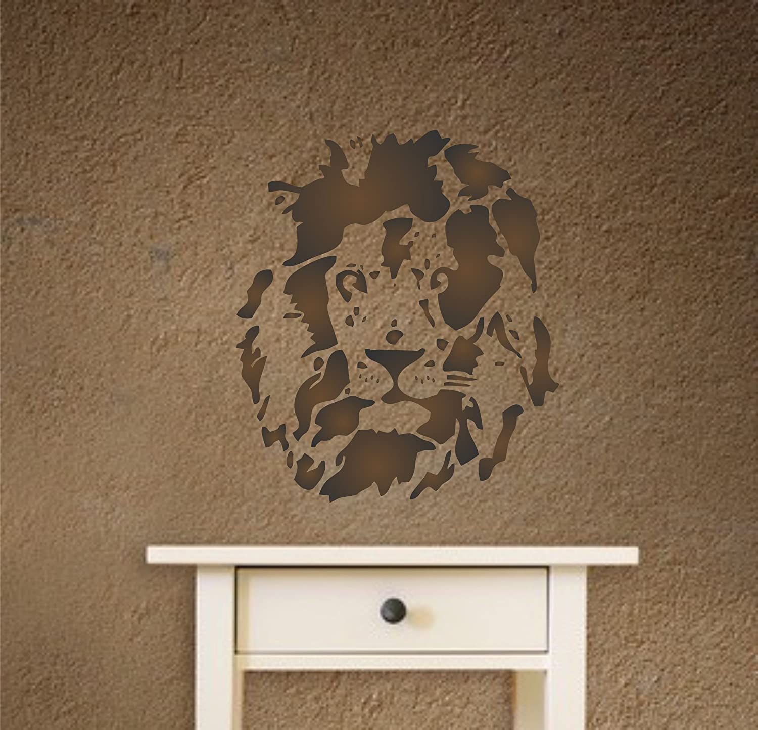 - Reusable African Big Cat Animal Wildlife Stencils for Painting Lion Head Stencil 35.5 x 40.5cm L
