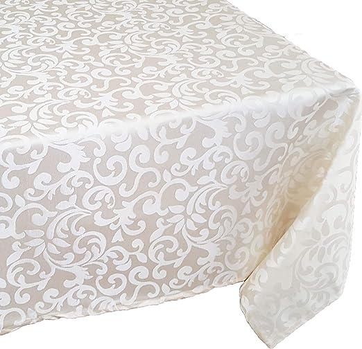 "Beige Tektrum 60/""X120/"" Rectangular Damask Tablecloth-Waterproof//Stain Resistant"