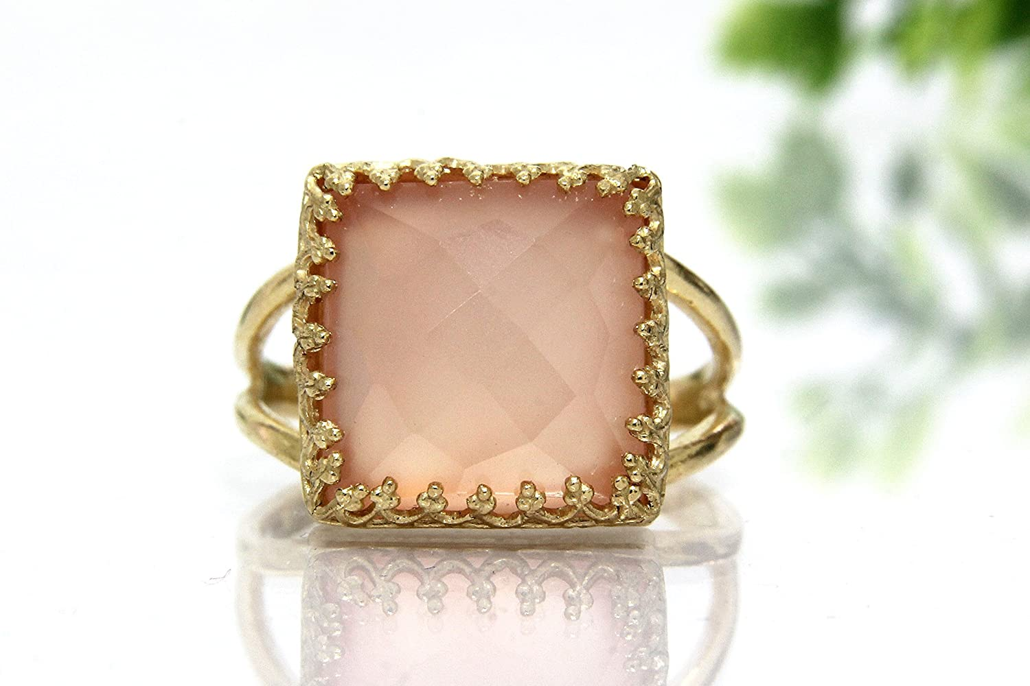 Pink chalcedony ring, square gemstone ring, square ring, silver ring, prong ring, solitaire ring, handmade ring
