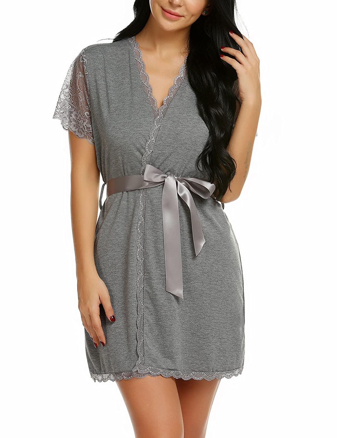a4a7082d02 This house robe features Belt with Loops on outside to secure firmly - More  Contured Fit than standard Kimono Robes. The cotton kimono robe for women  makes ...