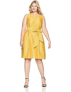 59bd22566c5 Anne Klein Women s Size Plus Square Neck Cotton Fit   Flare Dress at ...