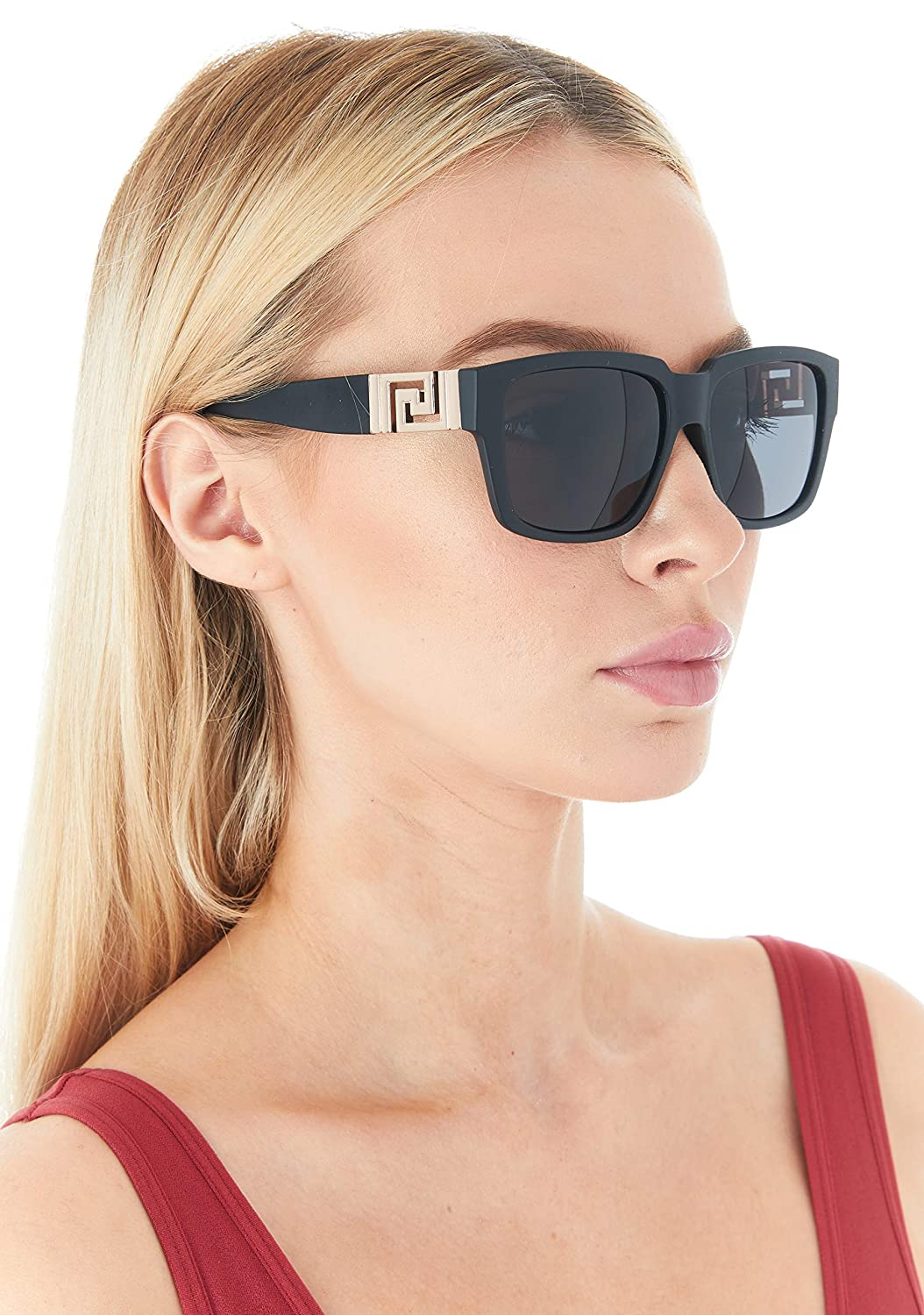 be4696d289 Amazon.com  DG Sunglasses for Women Oversized Eyewear Fashion - Assorted  Styles   Colors (Black Rose