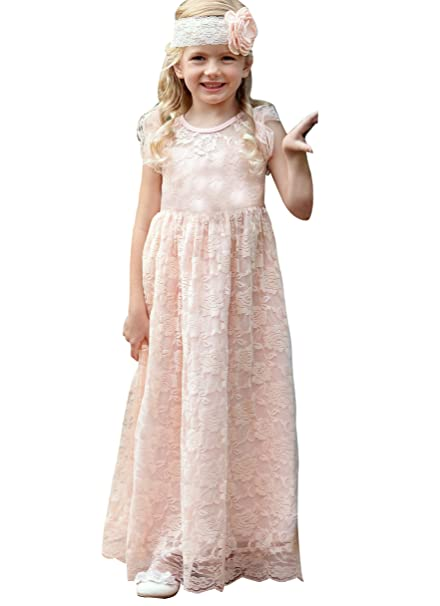 77b7034b64c KSDN Lace Bohemian Flower Girl Dress First Holy Communion Baptims Dress US  2 Blush Pink