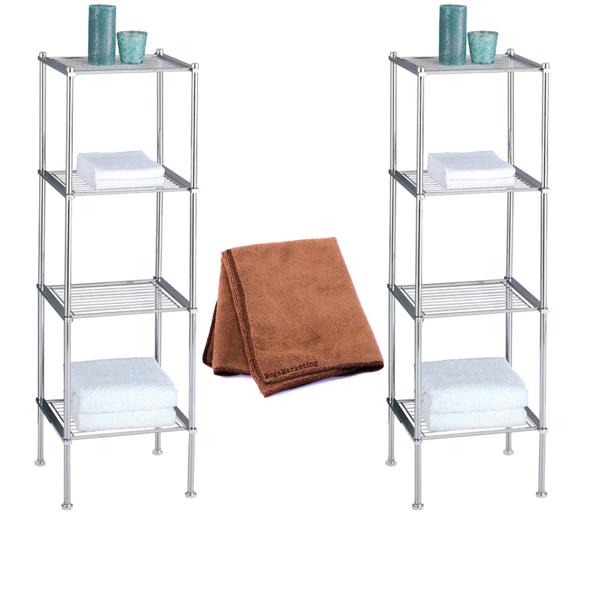 Organize It All Metro 4-Tier Shelf, 2-Pack with Cleaner Cloth