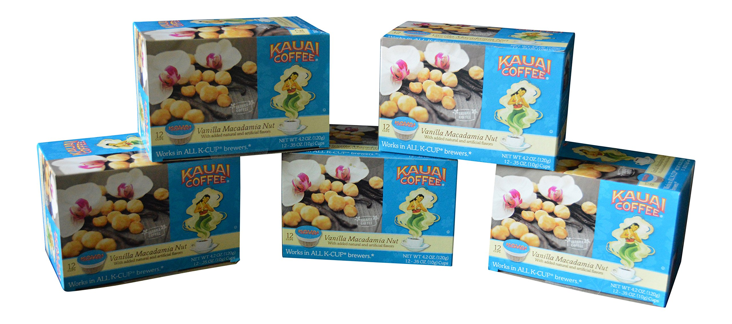 Kauai Coffee, Vanilla Macadamia Nut (Pack of 5)
