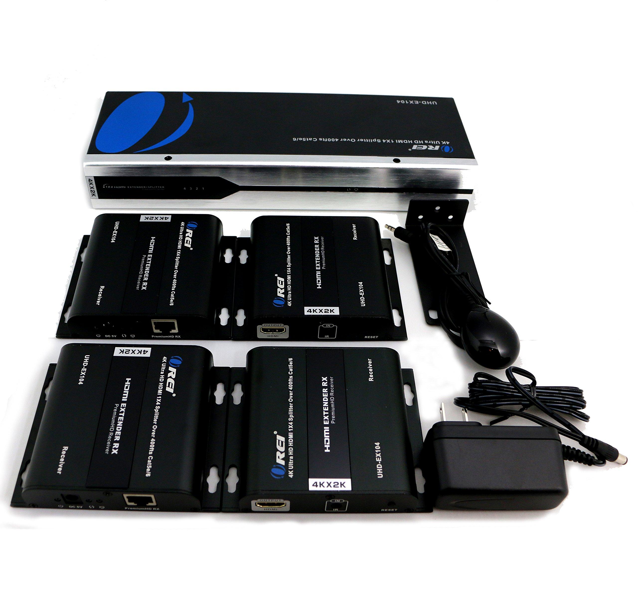 OREI 1X4 HDMI 2.0 Extender Splitter over CAT5/5e/6 with IR - Max 395 Feet (120m) at 1080p, 2K x 4K @ 30 HZ