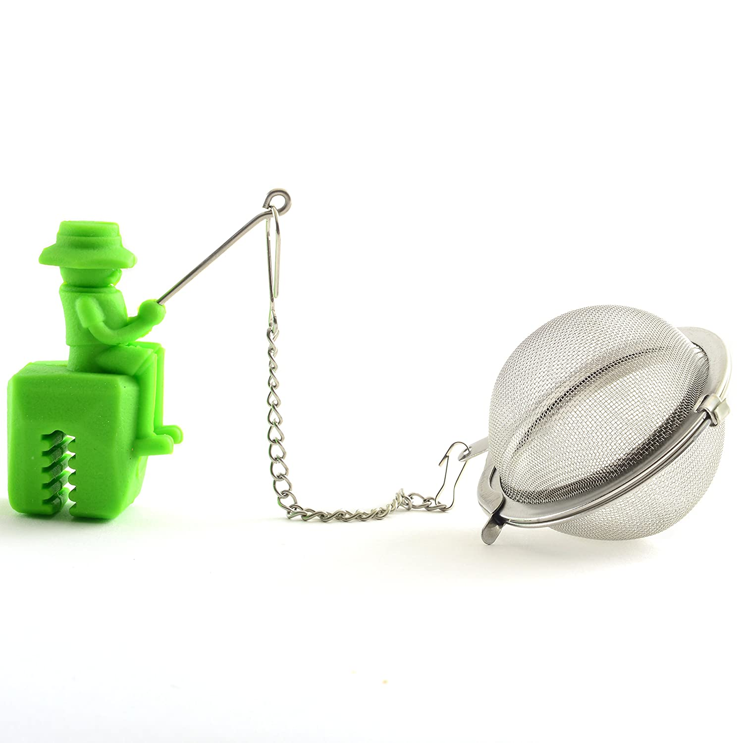 Norpro 5649 Stainless Steel and Silicone Fisherman Tea Infuser green 2