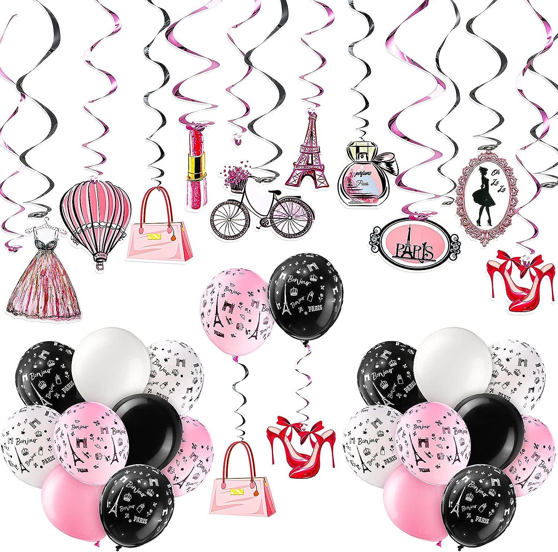 Sotiff 94 Pieces Paris Party Decorations Paris Theme Cutouts with Hanging Swirls EiffelTowerDressParis Theme Balloons Matte Balloons Pink Romantic Paris Supplies for Birthday Wedding Decors