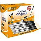 BIC Kugelschreiber Cristal Value Pack – 100 Kulis in Schwarz – Strichstärke 0,4 mm – Dokumentenecht