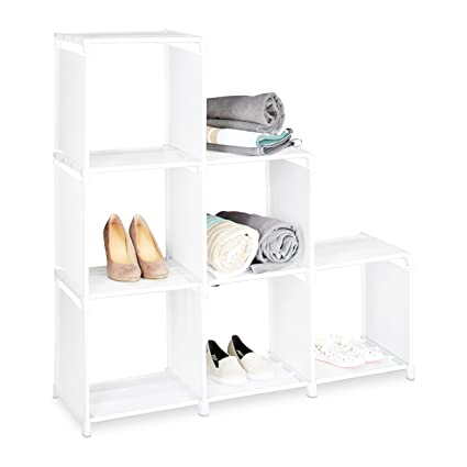 Relaxdays Etagere Escalier 6 Compartiments Meuble Escalier Hxlxp 109 X 106 X 30 Cm Blanc