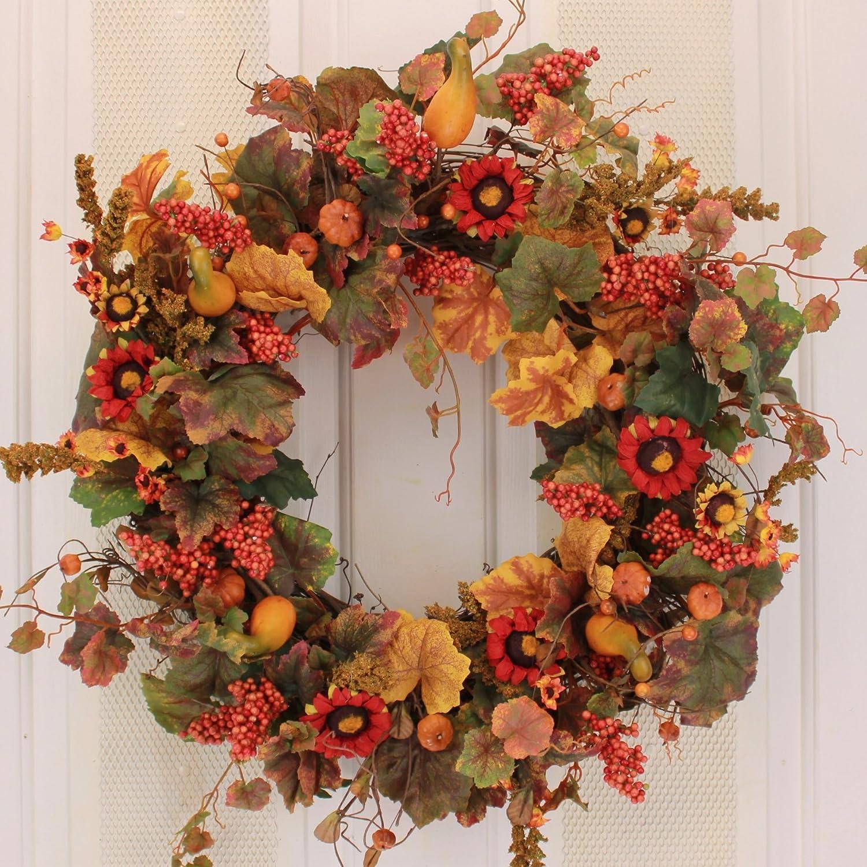 Fall Pumpkin and Autumn Berry Door Wreath