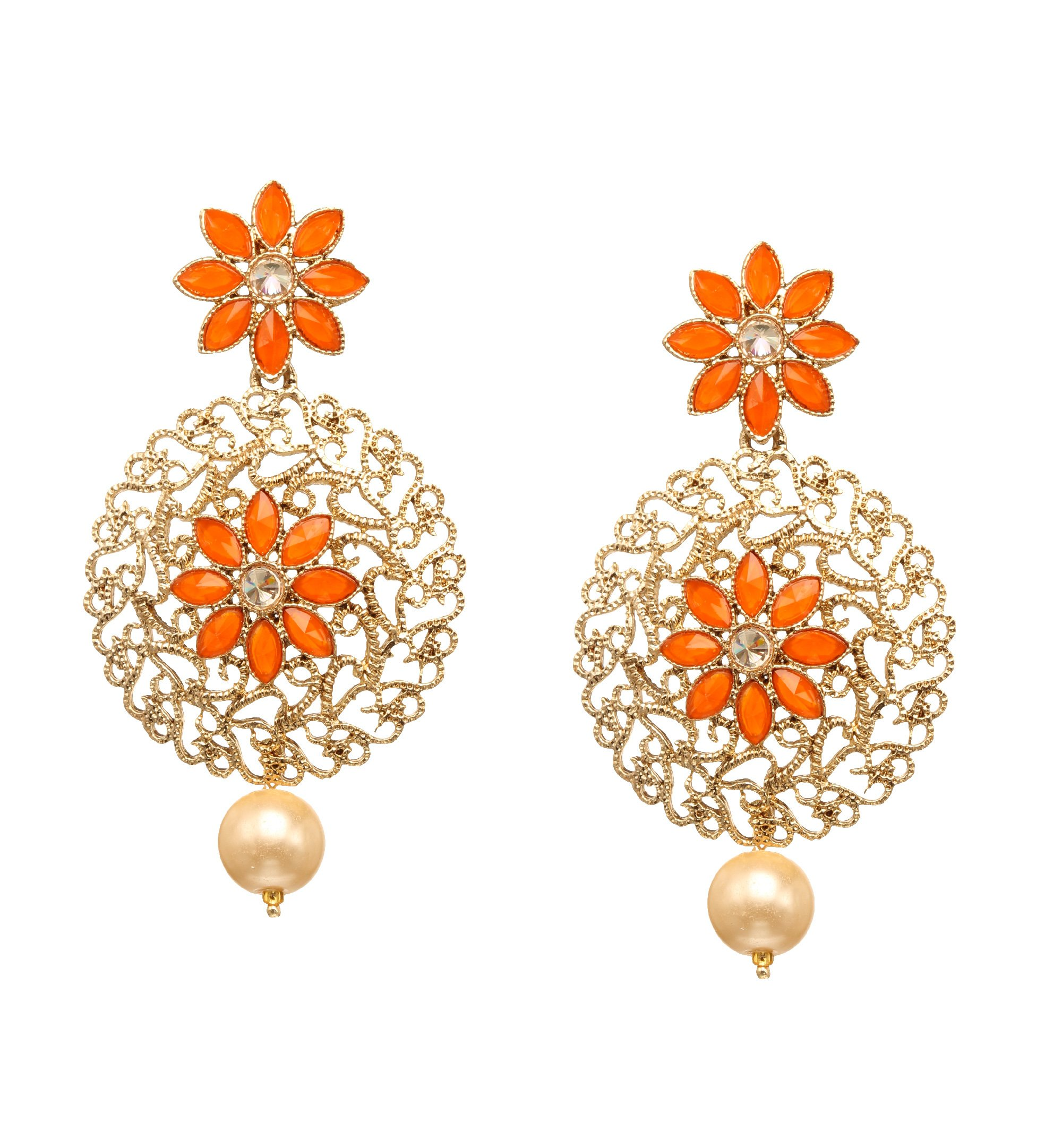 Bindhani Premium Wedding Bridal Indian Bollywood Orange Tangerine Dangle Drop Earrings Jewelry For Women