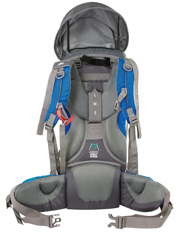 H/öhenverstellbarer Sitz 5-Punkt-Sicherheitsgurt Sonnen-//Regenschutz Standfu/ß + LED-Lampe MARSUPIO/® CARRYBABY Baby Tragerucksack