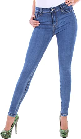 Black Denim Damen Stretch Jeans Hose High Waist Hochschnitt Röhrenjeans Slim Fit Skinny blau