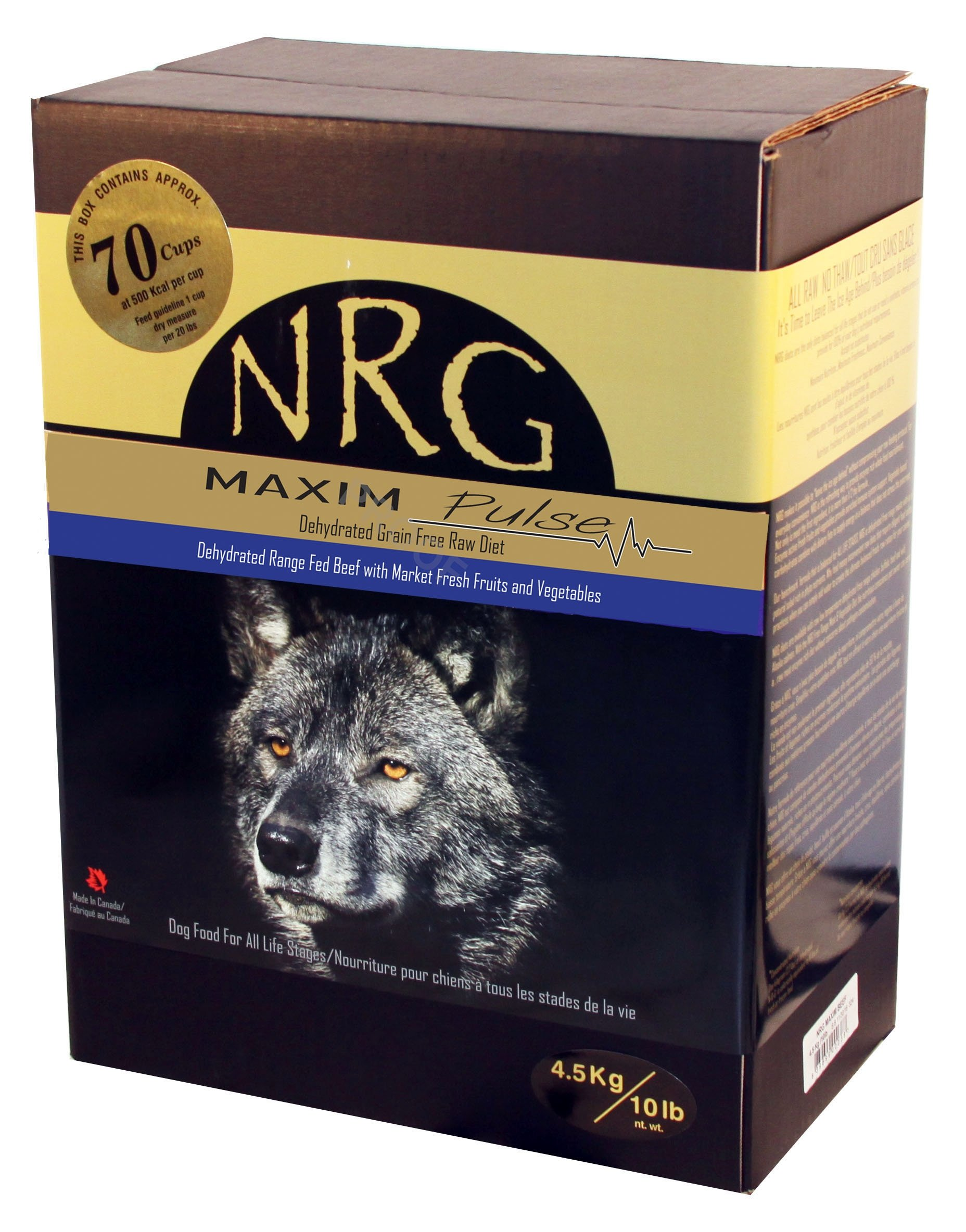 NRG Pulse Grain Free Dehydrated Dog Food Made from Free Range Canadian Beef & Veggies 10 Pound Box, 1 Piece