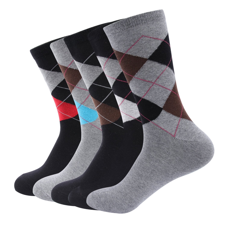 Men's Classic Cotton Socks Golden Modern Teenagers' Socks Business Travel Flight Meeting Argyle Pattern Crew Dress, 5 Pack