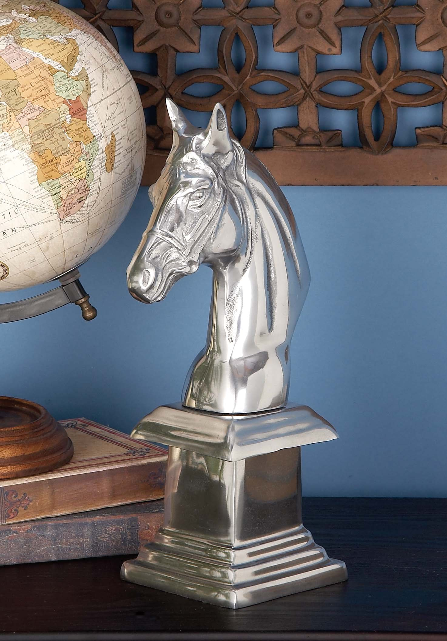 Deco 79 22176 Aluminum Horse Bust Home Decor Product, 7''W/13''H
