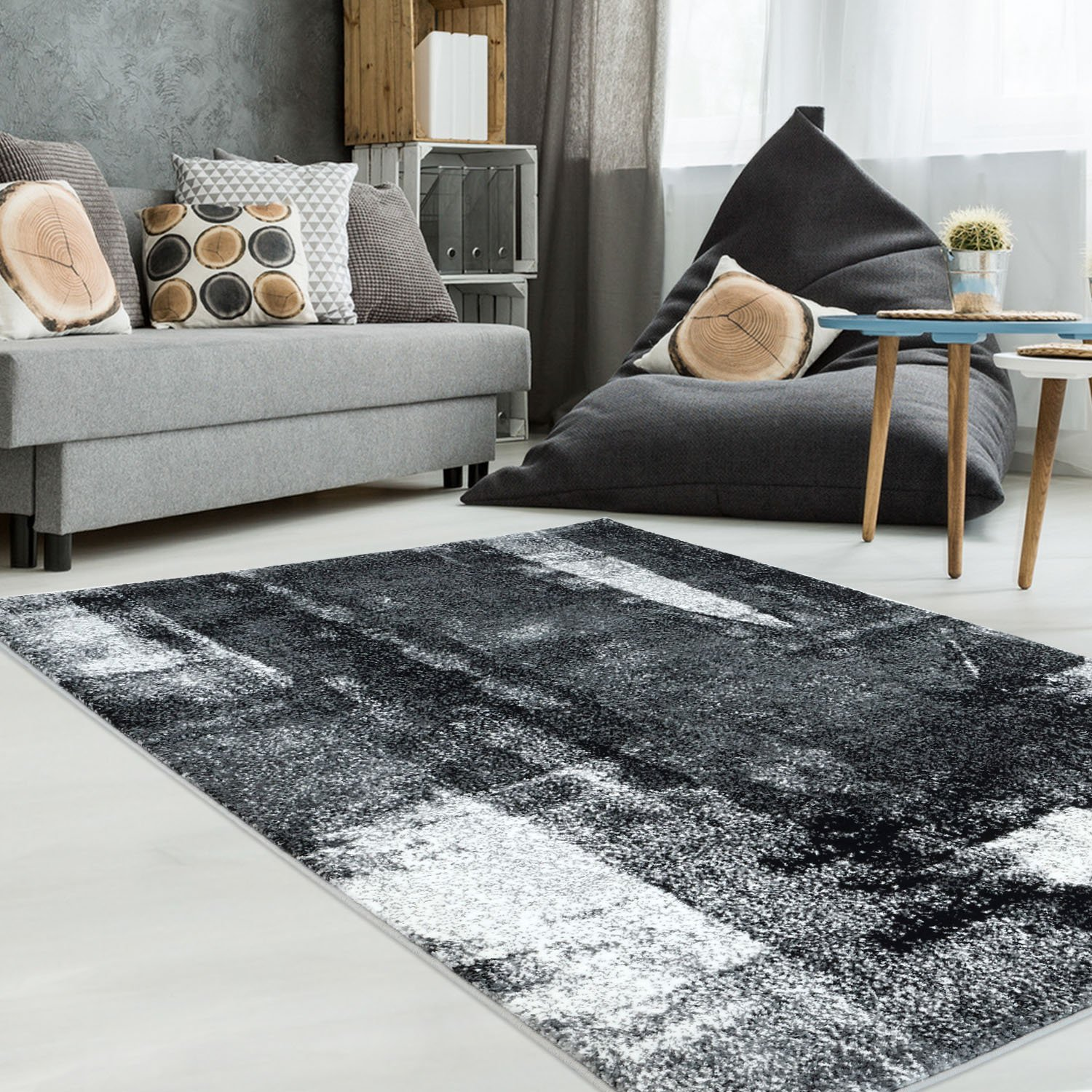 Unigue Black Area Rug, Synthetic Modern Contemporary Durable Living Room Area Rug (4 x 6) Ladole Rugs