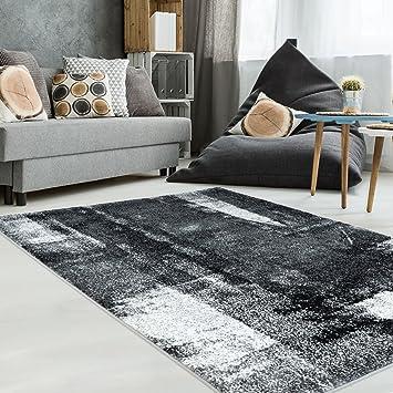 Teppich Flachflor In Schwarz Weiss Mit Modernen Design Vintage Optik Meliert Fr