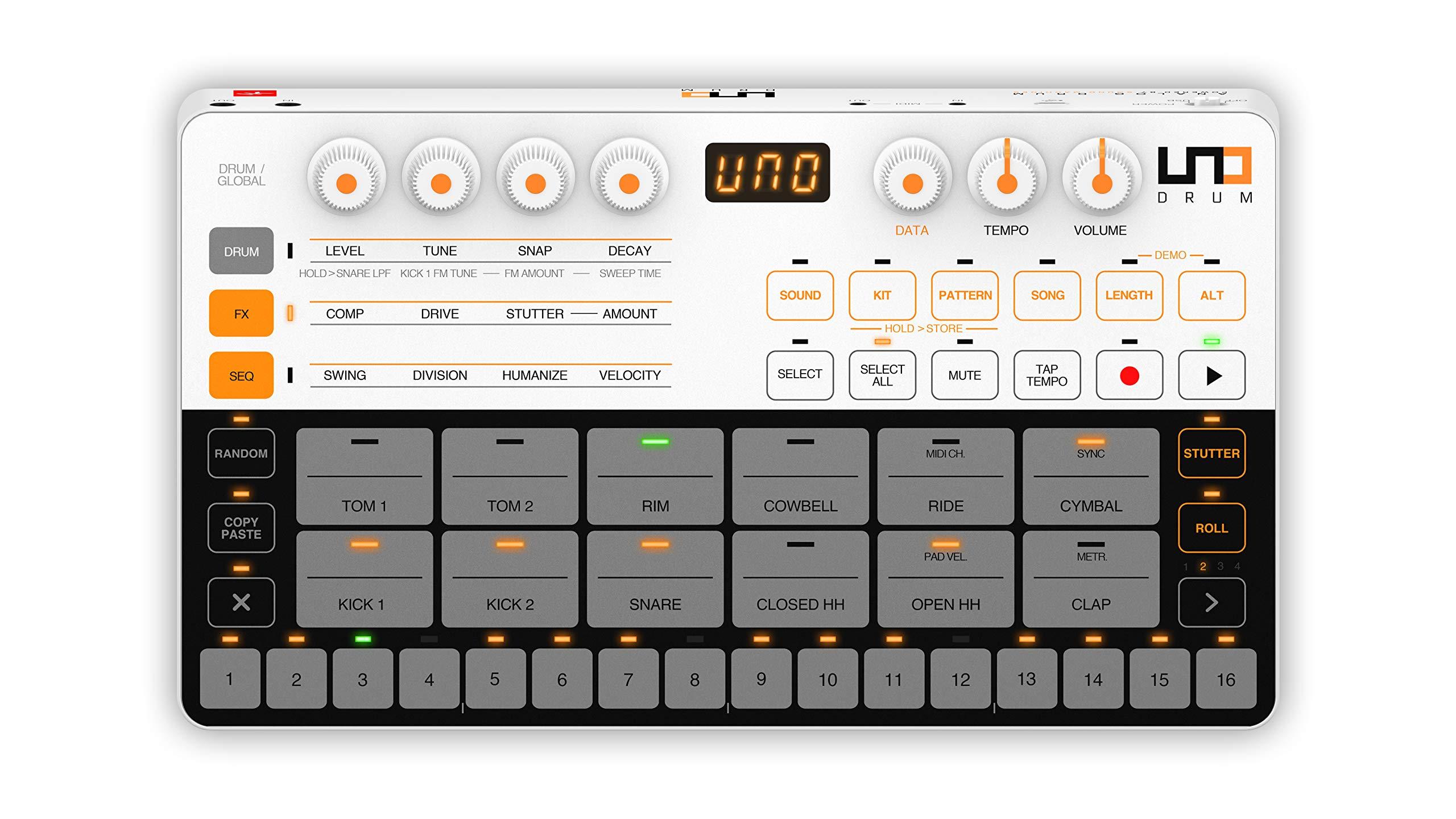 IK Multimedia UNO Drum Portable Analog/PCM Drum Machine (IP-UNO-DRUM-IN)