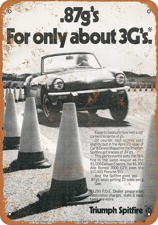 1974 Triumph Spitfire Antique Targa in Metallo Vintage Targa in Metallo Targa Poster Personalizzato Segnale Stradale familiare 12 x 8 Pollici