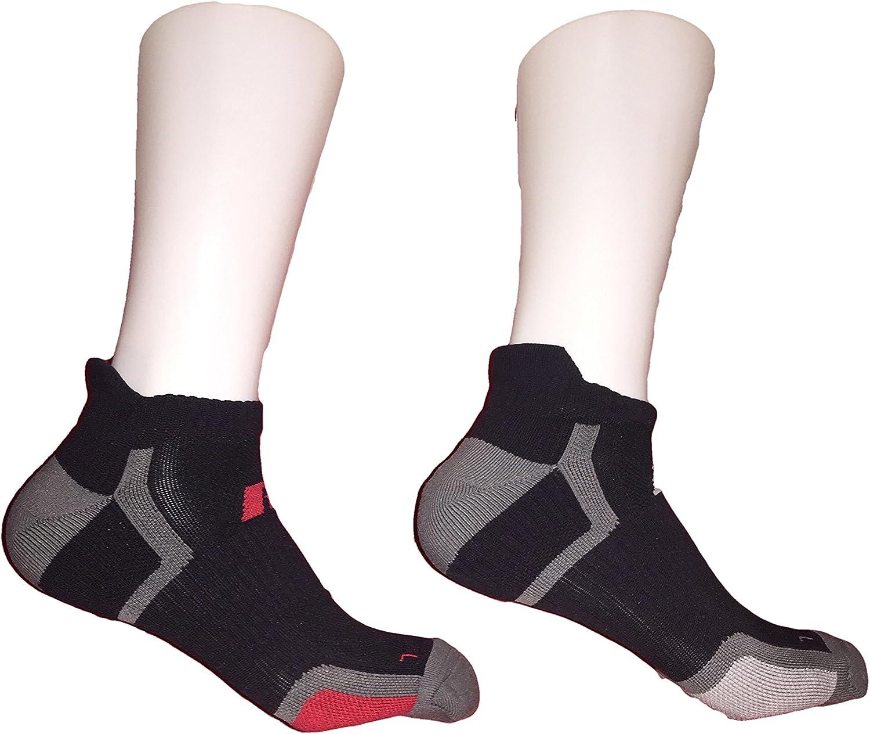 Men's Sport Performance Low Cut Tab Sock 4 Pack (Black/Red, Black/Grey)