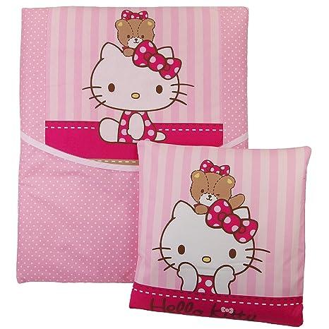 4 piezas bebé Ropa de cama Hello Kitty Manta Cojín para cochecito Moisés Cuna Escobillero rosa