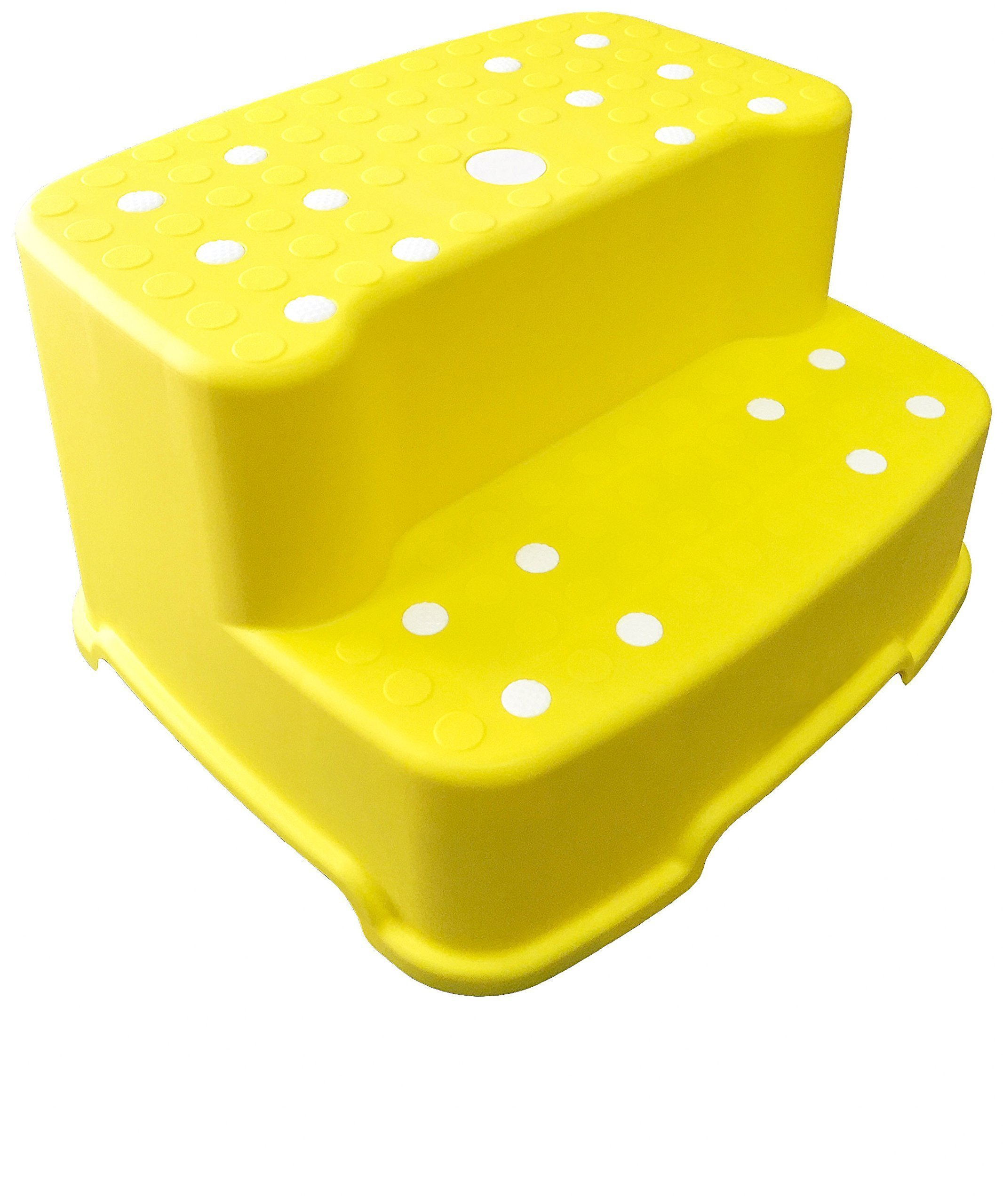Tenby Living Extra-Wide Extra-Tall Jumbo Step Stool with Removable Non-Slip Caps and Rubber Grips, Yellow