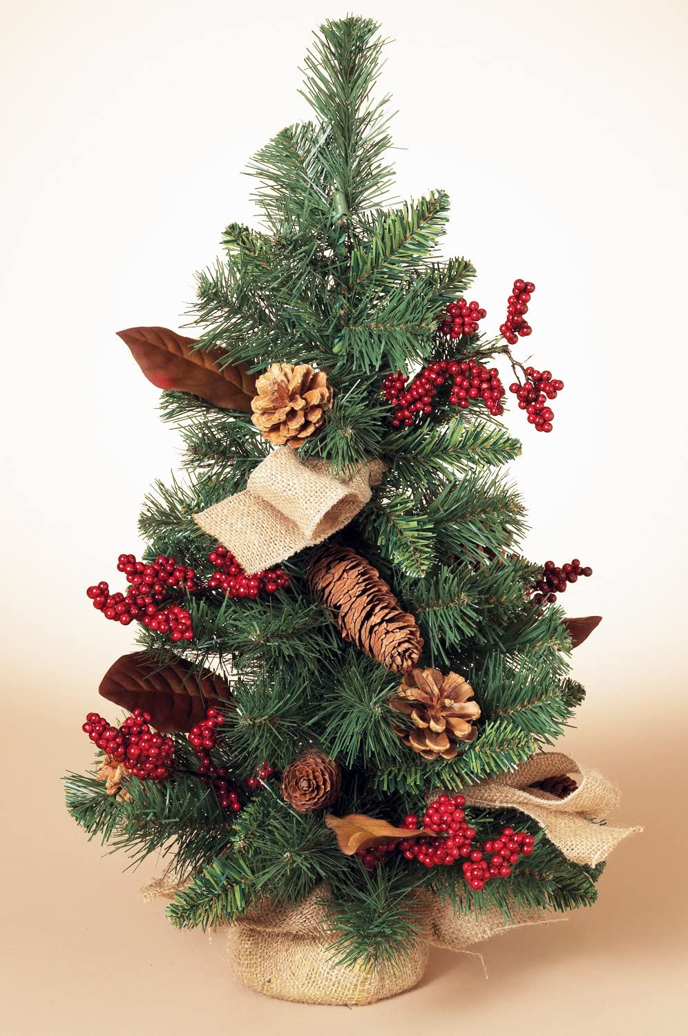 Amazon Com 24 Inch High Woodland Christmas Tree With Red Berries And Pine Cones Artificial Woodland Pine Tree Home Kitchen