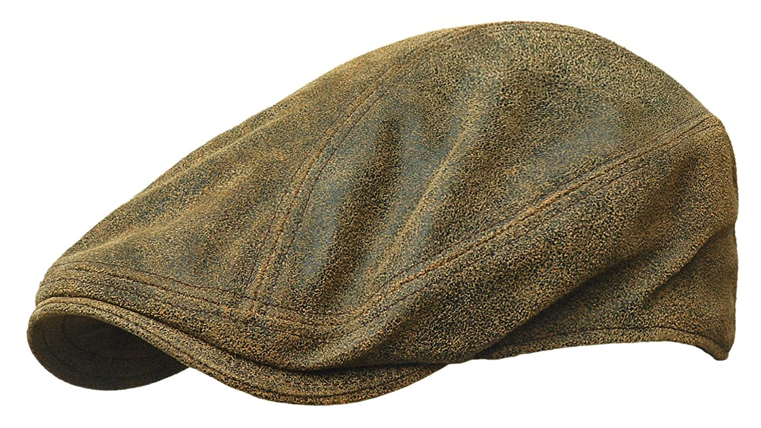 44ef5c1efbf ROOSTER Distressed Leather Ivy Cap Newsboy Gatsby Driving Hat Golf Brown at  Amazon Men s Clothing store