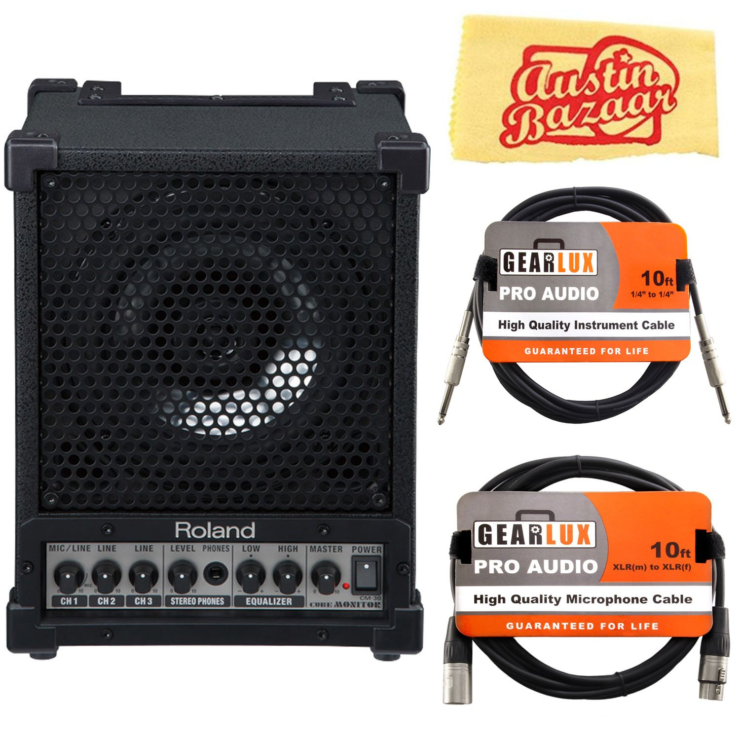 Roland CM-30 Cube Monitor Bundle with XLR Cable, Instrument Cable, and Austin Bazaar Polishing Cloth