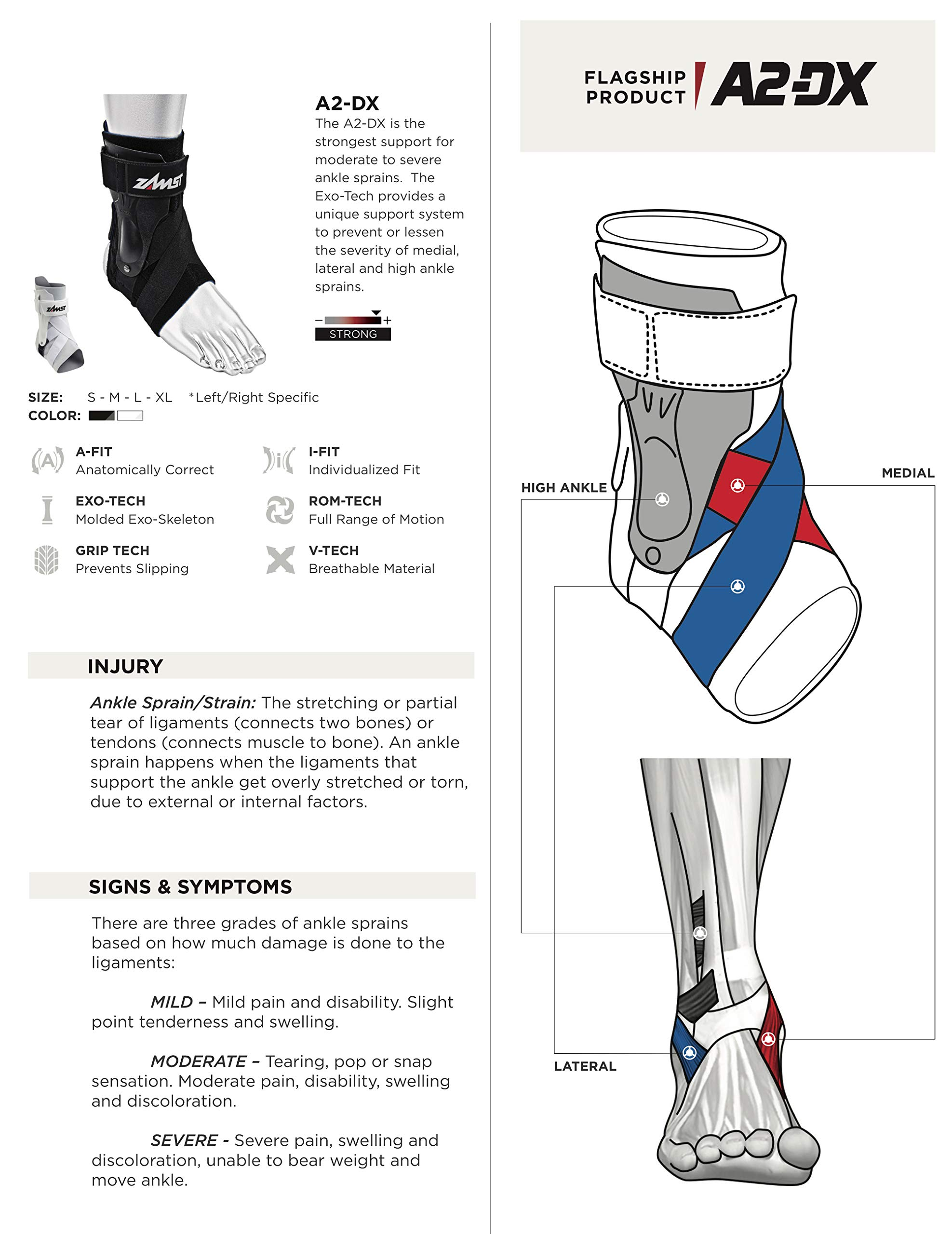 Zamst A2-DX Strong Support Ankle Brace, White, Large - Right by Zamst (Image #4)