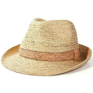 f33187c470c Amazon.com  Deevoov 100% Raffia Straw Light Sun Hat Panama Trilby Fedora  Short Brim Jazz Cap  Sports   Outdoors