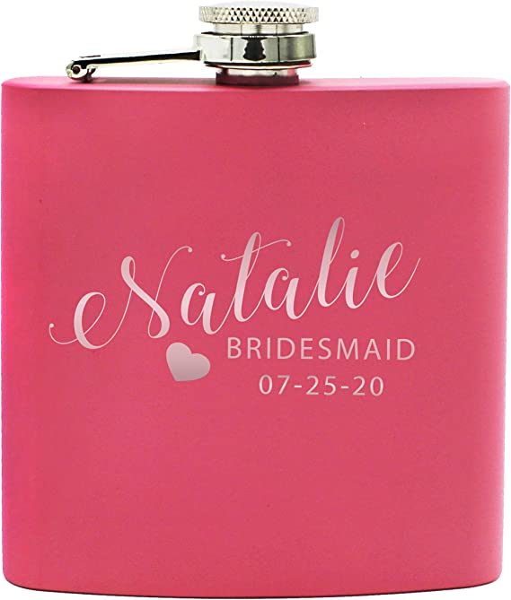 Personalized Pink Bridesmaid Gift Flask For Women - Custom Engraved For Free