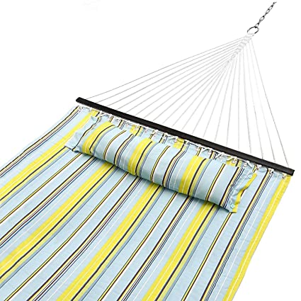 Beautiful Sportneer Double Hammock Quilted Fabric Double Wide Solid Spreader Bar For Outdoor  Patio Yard