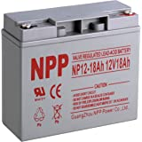 NPP 12V 18 Amp NP12 18Ah Rechargeable Sealed Lead Acid Battery With Button Style Terminals