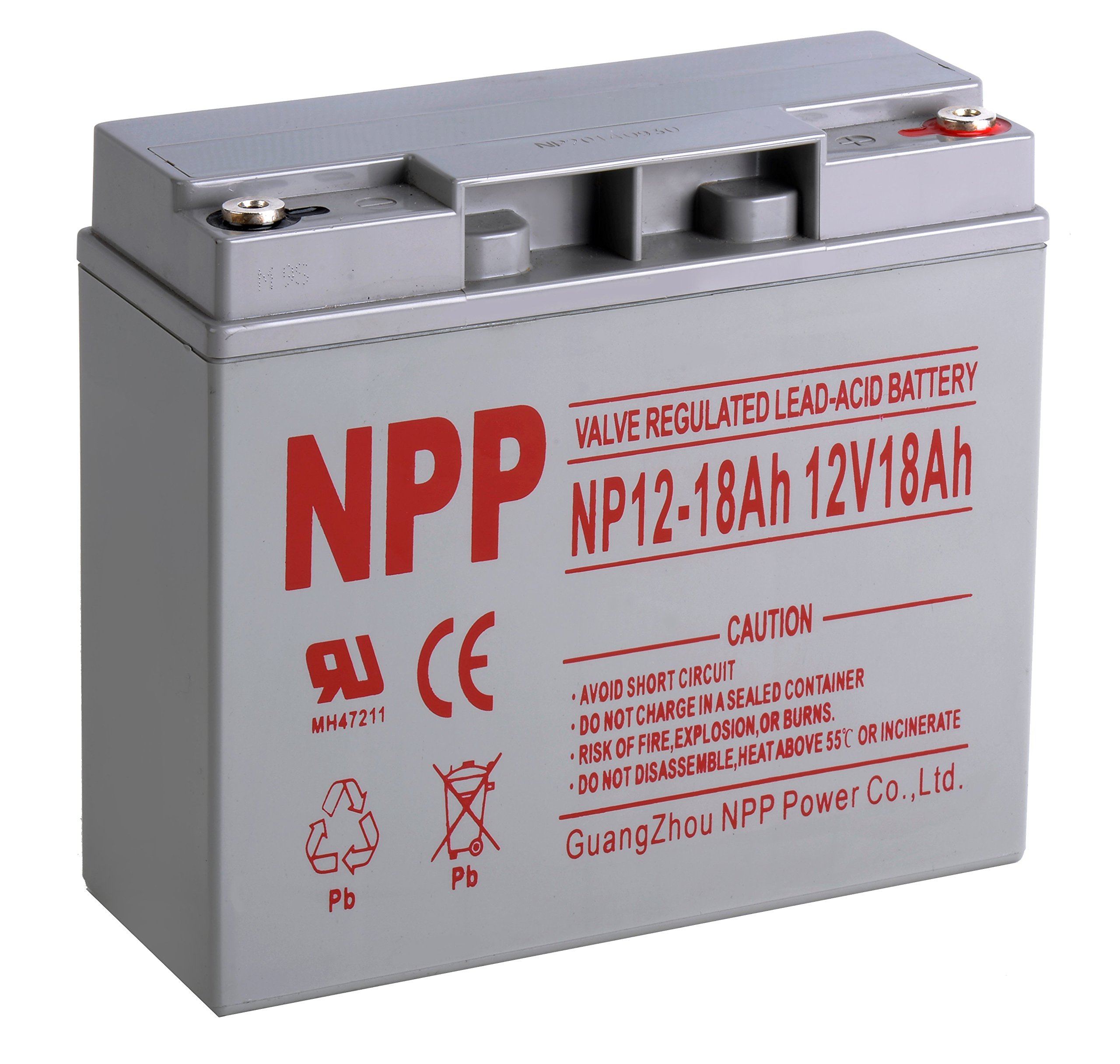 NPP NP12-18Ah Rechargeable Sealed Lead Acid 12V 18 Ah Battery With Button Style Terminals by NPP
