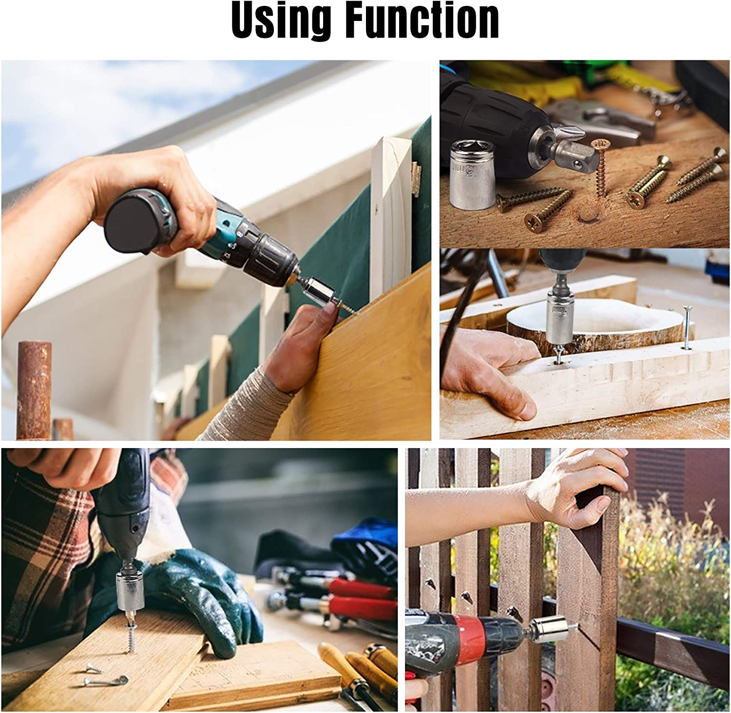 Match with Wrench and Power Drill JelBo Universal Socket Socket Wrench with Power Drill Adapter Adjustable Socket Tool Set