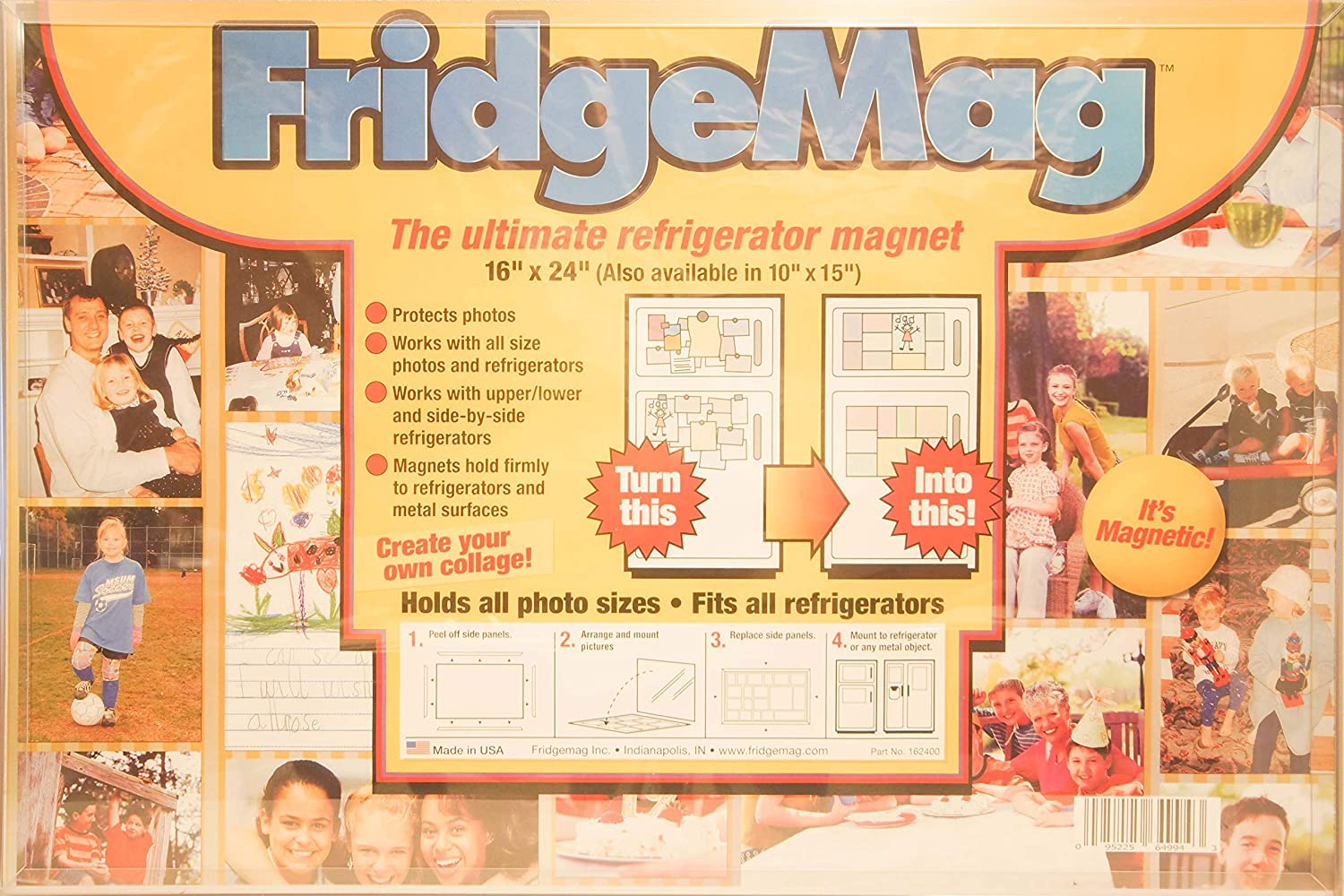The Ultimate Refrigerator Magnet Fridgemag Model A, 16 X 24 Large Magnetic Frame, Holds Photographs or Various Items