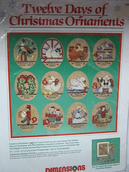12 Days Of Christmas Cross Stitch.Amazon Com Dimensions 12 Days Of Christmas Ornaments