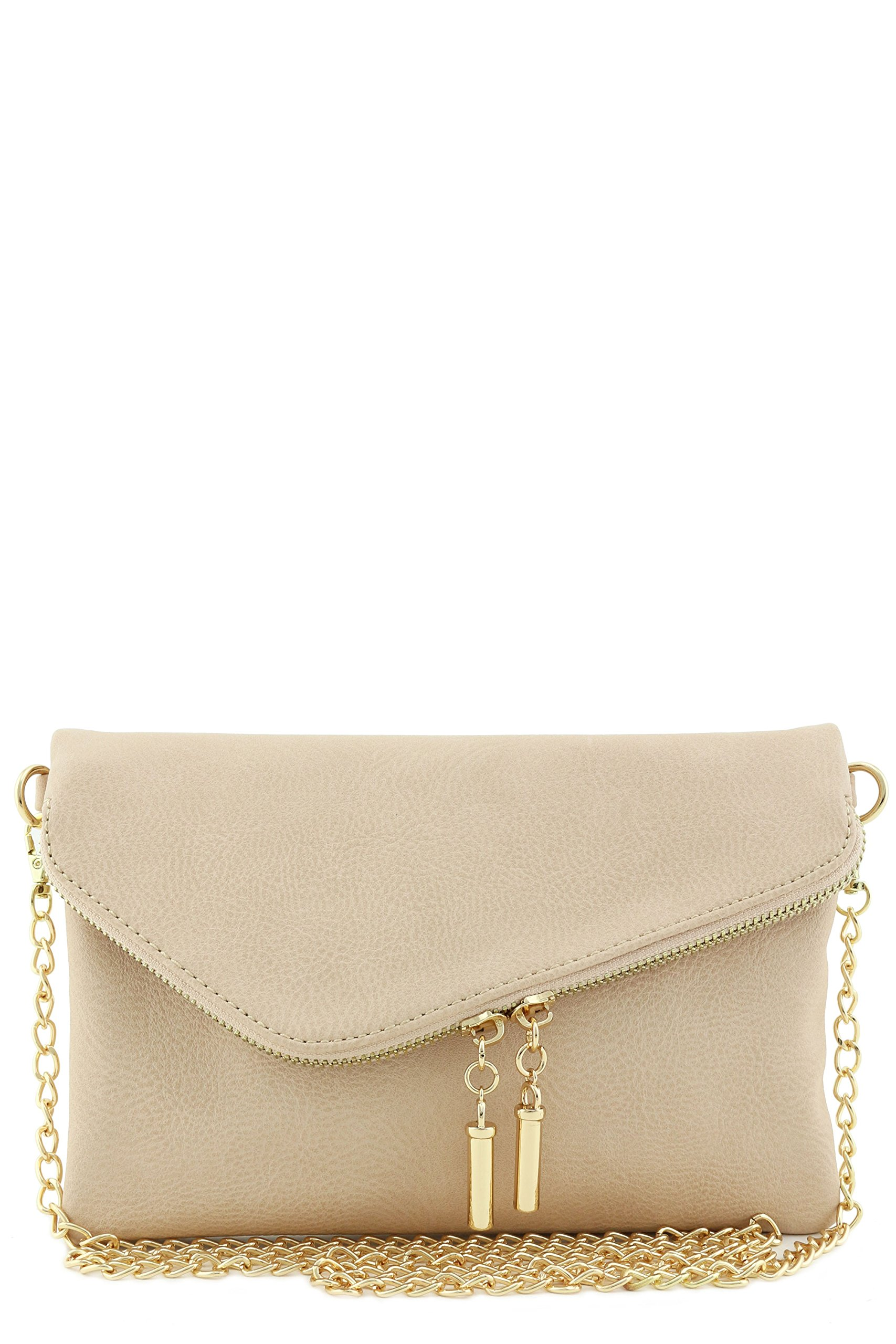 Envelope Wristlet Clutch Crossbody Bag with Chain Strap Nude