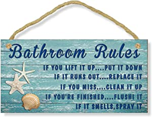 FDerks Bathroom Ruler Sign Vintage Bathroom Wooden Signs Farmhouse Bathroom Wall Plaque Seashells Bathroom Rules If It Smells Spray It Beach Sign Plaque for Washroom Wall Decor 5x10 inch